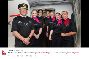 Qantas staff All Blacks tops